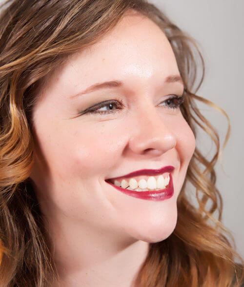 Melissa stunning look wearing Soy Free Fierce lipstick