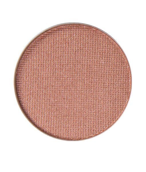 image of shimmer coppery brown itch free eyeshadow. This rich mediuum terra cotta copper color is used in this tutorial for shine in the center of the eyelid for a pumpkin Halloween look.