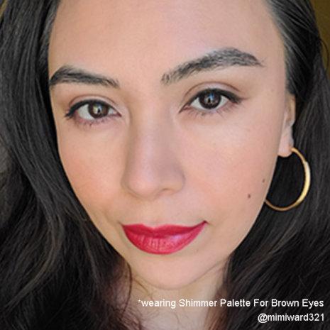 medium skin with red lipstick