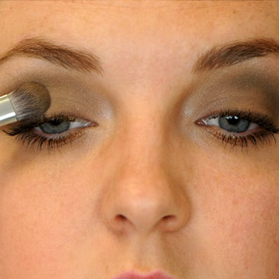 Allergen Free eyeshadow application in the lid and above the crease
