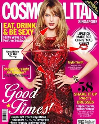 magazine cover to demonstrate lipstick color matching outfit.