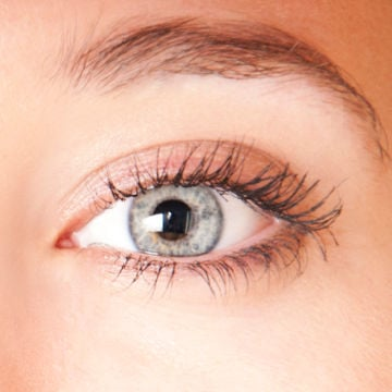 picture of a woman's gray eye for demonstration purposes