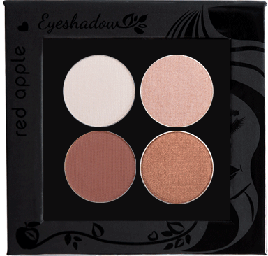 Picture of curated shimmer eyeshadows for brown eyes in a z-palette by Red Apple Lipstick