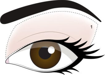 STEP 1- Apply Porcelain from lash line up to brow bone as base.