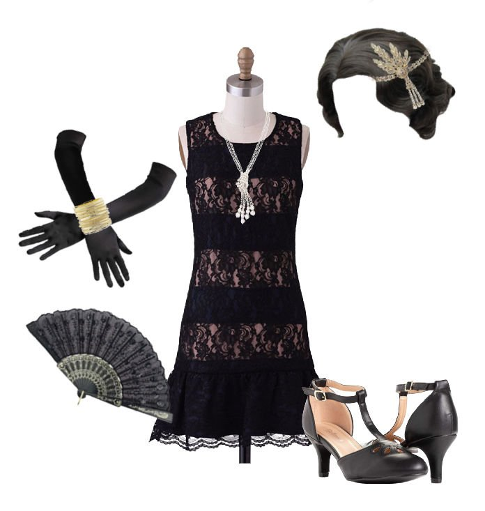 Image of flapper halloween costume idea. black lace drop waist dress with long pearl neckllace. Gold beaded headband and long black gloves. Fan to carry as an accessory. Low heal closed toed shoe.