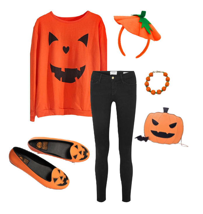 Halloween Pumpkin Costume featuring an orange jack-o-lantern sweater, black skinny jeans, orange and black jack-o-lantern flat shoes, a pumpkin headband, bracelet and jack-o-lantern purse.