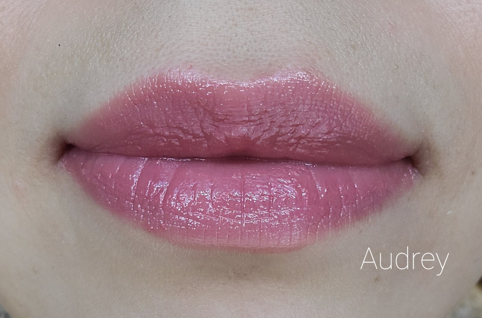 Image of close up lips wearing Lipstick by Red Apple Lipstick in the shade called Audrey. This is neutral pink without shimmer.