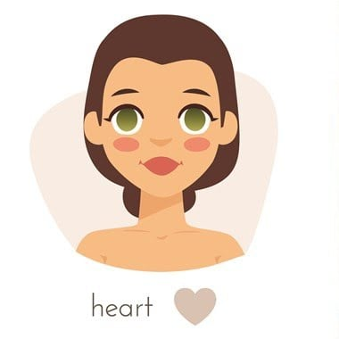 Image of a cartoon lady showing an example of a heart face shape