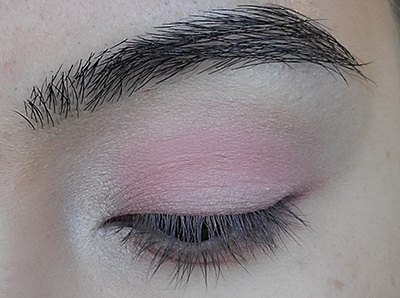 Image of eyelid with Innocence Eyeshadow by Red Apple Lipstick that was applied to the inner corner by tear duct and upper brow bone