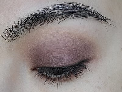 Image of close up eye lid with Hello Darkness eyeshadow by Red Apple Lipstick which was used to line the upper lash line.
