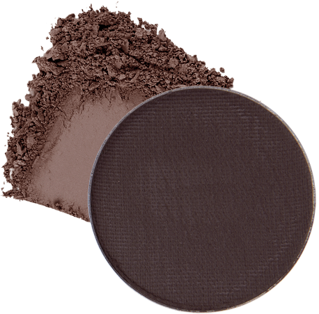 Image of eyeshadow pan in the shade called Hello Darkness by Red Apple Lipstick. Hello Darkness is a matte dark gray-brown taupe
