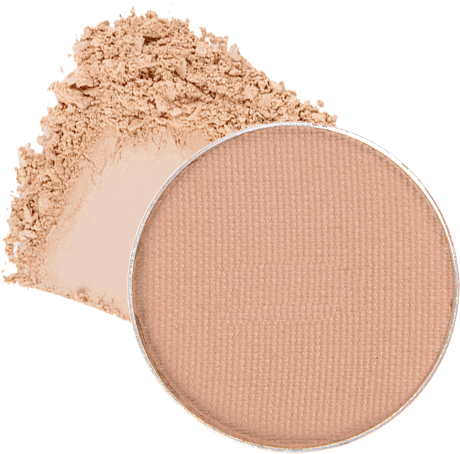 Image of eyeshadow pan in the shade called Hush Hush by Red Apple Lipstick. Hush Hush is a matte light peach shade