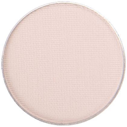Image of eyeshadow pan with the shade called Porcelain by Red Apple Lipstick. Porcelain is a a light, matte, off-white, creamy nude eyeshadow that has a slight pinkish, peachy yellow tint to it