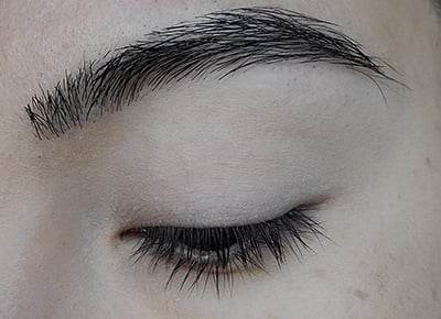 Image of close up eye lid after Porcelain eyeshadow has been applied as an all over base color.