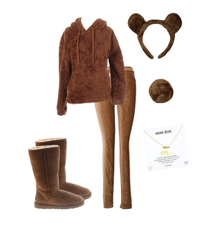Picture of cutemama bear Halloween costume featuring brown fleece teddy jacket, brown pants, ugg style boots, brown bear headband and tail along with a mama bear necklace