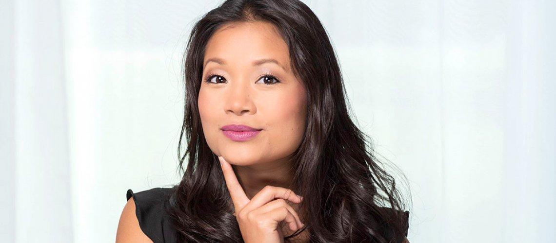 woman with medium neutral skin wearing lavender pink lipstick